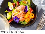 Ceviche of salmon with kiwi fruit, avocado, kumquat, figs. Стоковое фото, фотограф Яков Филимонов / Фотобанк Лори