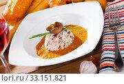 Купить «Delicious chicken heart with rice in a sea of hot tomato-cream sauce», фото № 33151821, снято 29 февраля 2020 г. (c) Яков Филимонов / Фотобанк Лори