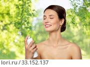 Купить «beautiful young woman with facial spray or mist», фото № 33152137, снято 30 ноября 2019 г. (c) Syda Productions / Фотобанк Лори