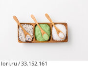 sea salt and spoons on wooden tray. Стоковое фото, фотограф Syda Productions / Фотобанк Лори