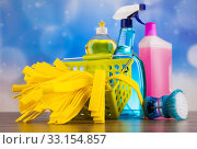 Купить «Assorted cleaning products, home work colorful theme», фото № 33154857, снято 4 июля 2020 г. (c) PantherMedia / Фотобанк Лори