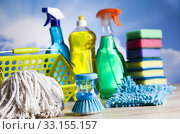 Купить «Group of assorted cleaning, home work colorful theme», фото № 33155157, снято 4 июля 2020 г. (c) PantherMedia / Фотобанк Лори