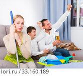 Купить «Tired woman with relaxing man with boy», фото № 33160189, снято 12 ноября 2017 г. (c) Яков Филимонов / Фотобанк Лори