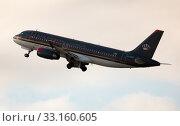 Royal Jordanian Airbus A320-232 JY-AYX taking off from Barcelona Airport (2020 год). Редакционное фото, фотограф Яков Филимонов / Фотобанк Лори