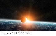 Купить «Sunrise over planet Earth in space», фото № 33177385, снято 16 июля 2020 г. (c) PantherMedia / Фотобанк Лори