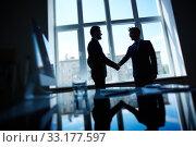 Купить «Confident businessmen handshaking after negotiations», фото № 33177597, снято 26 мая 2020 г. (c) PantherMedia / Фотобанк Лори