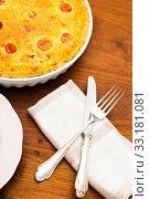 Купить «quiche lorraine in baking dish on the table», фото № 33181081, снято 5 июля 2020 г. (c) PantherMedia / Фотобанк Лори