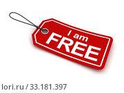 Купить «I am free tag, 3d render», фото № 33181397, снято 24 февраля 2020 г. (c) PantherMedia / Фотобанк Лори