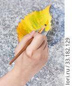 Купить «paintbrush paints fallen leaf in yellow colour», фото № 33182129, снято 9 апреля 2020 г. (c) PantherMedia / Фотобанк Лори
