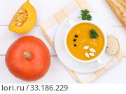 Купить «pumpkin soup pumpkin soup pumpkin soup in soup cup from above», фото № 33186229, снято 26 февраля 2020 г. (c) PantherMedia / Фотобанк Лори