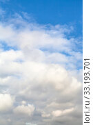 Купить «dense white autumn clouds in blue sky», фото № 33193701, снято 10 апреля 2020 г. (c) PantherMedia / Фотобанк Лори