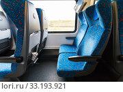 Купить «empty seats in railway wagon», фото № 33193921, снято 7 июля 2020 г. (c) PantherMedia / Фотобанк Лори