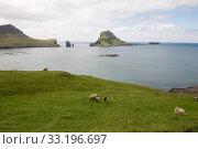 The islands Gasholmur and Tindholmur and  Mykines on the Faroe Islands. Стоковое фото, фотограф Andreas Altenburger / PantherMedia / Фотобанк Лори
