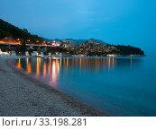 Купить «View of Budva in the autumn evening, Montenegro», фото № 33198281, снято 8 июня 2019 г. (c) Володина Ольга / Фотобанк Лори