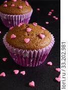 Купить «Шоколадный кекс украшен розовыми сахарными сердечками. Черный фон. Крупный план», фото № 33202981, снято 21 февраля 2020 г. (c) ирина реброва / Фотобанк Лори