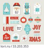 Купить «Merry christmas set scrapbook diy printable tags», фото № 33203353, снято 8 апреля 2020 г. (c) PantherMedia / Фотобанк Лори