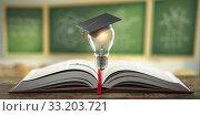 Купить «Education, learning on school and university or idea concept. Open book with light bulb and graduation cap on classroom blackboard background.», фото № 33203721, снято 2 июня 2020 г. (c) Maksym Yemelyanov / Фотобанк Лори