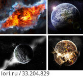Купить «Meteorite impact on a planet in space», фото № 33204829, снято 10 июля 2020 г. (c) PantherMedia / Фотобанк Лори