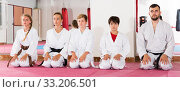 Купить «Kids taekwondo group ready to practice», фото № 33206501, снято 6 августа 2018 г. (c) Яков Филимонов / Фотобанк Лори
