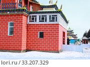 Купить «Иволгинский дацан. Буддизм. Праздник белого месяца. Сагалган. Сагаалган хараар. Сагаалганаар.», фото № 33207329, снято 23 февраля 2020 г. (c) Валерий Митяшов / Фотобанк Лори