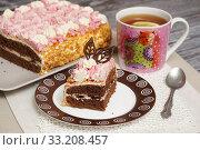 Купить «Домашняя выпечка. Кусочек торта на тарелке и чашка чая», эксклюзивное фото № 33208457, снято 8 февраля 2020 г. (c) Dmitry29 / Фотобанк Лори