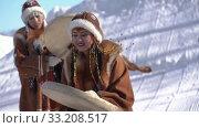 Indigenous female dancing with tambourine in national clothing aborigine people (2020 год). Редакционное видео, видеограф А. А. Пирагис / Фотобанк Лори