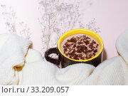Warmth, homeliness, rest in the winter in the fall. A cup of morning warming hot chocolate, cocoa, cappuccino, a soft knitted textile sweater, autumn flowers on a pale delicate pink background. Стоковое фото, фотограф Светлана Евграфова / Фотобанк Лори