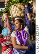 Купить «Oaxaca, Mexico - Dancers as a quinceañera, or a girl's 15th birthday, is celebrated on the streets of Oaxaca.», фото № 33223897, снято 1 февраля 2020 г. (c) age Fotostock / Фотобанк Лори