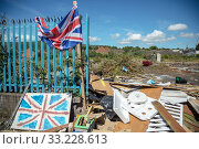 Купить «United Kingdom, Belfast - Condemned place after the bonfire of Orangemens Day, Shankill Road, Protestant part of West Belfast», фото № 33228613, снято 14 июля 2019 г. (c) Caro Photoagency / Фотобанк Лори