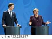 Купить «Berlin, Germany - Federal Chancellor Angela Merkel and the Federal Chancellor of Austria Sebastian Kurz.», фото № 33228897, снято 3 февраля 2020 г. (c) Caro Photoagency / Фотобанк Лори