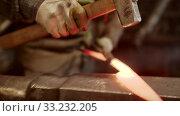 Купить «Forging a knife out of the hot metal - hitting with a hammer», видеоролик № 33232205, снято 6 июня 2020 г. (c) Константин Шишкин / Фотобанк Лори