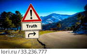 Купить «Street Sign the Direction Way to Truth», фото № 33236777, снято 26 мая 2020 г. (c) easy Fotostock / Фотобанк Лори