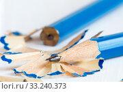 Купить «Two pencils and shavings», фото № 33240373, снято 2 июня 2020 г. (c) PantherMedia / Фотобанк Лори