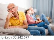 Купить «Resentment of an elderly father for adult children», фото № 33242677, снято 16 мая 2019 г. (c) Яков Филимонов / Фотобанк Лори