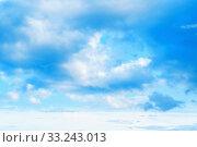 Купить «Blue sky background. Picturesque colorful clouds lit by sunlight. Vast sky landscape panoramic scene», фото № 33243013, снято 14 июля 2019 г. (c) Зезелина Марина / Фотобанк Лори