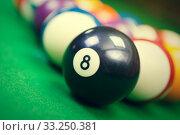 Купить «billiard balls on a green pool table, closeup», фото № 33250381, снято 29 февраля 2020 г. (c) PantherMedia / Фотобанк Лори
