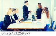 Купить «Business handshake at negotiations», фото № 33259877, снято 25 мая 2020 г. (c) Татьяна Яцевич / Фотобанк Лори