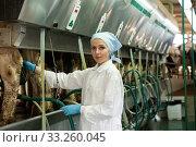 Woman standing near automatical cow milking machines at farm. Стоковое фото, фотограф Яков Филимонов / Фотобанк Лори