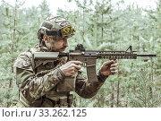 Купить «Handsome man in italian military uniform camouflage coloring Digital Vegetato», фото № 33262125, снято 22 апреля 2017 г. (c) katalinks / Фотобанк Лори
