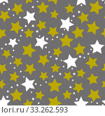 Купить «Соединённые созвездия. Звёзды, бесконечный узор. Abstract seamless gray background with green stars. Pattern of connected constellations for fabric or clothing. Vector», иллюстрация № 33262593 (c) Dmitry Domashenko / Фотобанк Лори