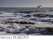 Купить «Краснодарский край, Туапсе, зимний шторм на Чёрном море», фото № 33262913, снято 12 февраля 2020 г. (c) glokaya_kuzdra / Фотобанк Лори