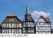 Front of wonderful old half-timbered houses in a village in Fritzlar, in Germany near Kassel in Hesse. Стоковое фото, фотограф Angela Rohde / PantherMedia / Фотобанк Лори
