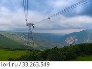 Cableway pylon in the mountains of Armenia near Tatev Monastery. Стоковое фото, фотограф Константин Лабунский / Фотобанк Лори