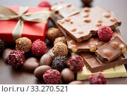 Купить «close up of handmade chocolate candies», фото № 33270521, снято 1 февраля 2019 г. (c) Syda Productions / Фотобанк Лори