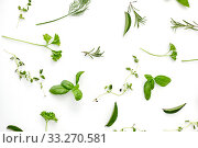 Купить «greens, spices or herbs on white background», фото № 33270581, снято 12 июля 2018 г. (c) Syda Productions / Фотобанк Лори