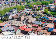 Old sulfur Baths in Abanotubani district with wooden carved balconies in the Old Town of Tbilisi, Georgia. Редакционное фото, фотограф Николай Коржов / Фотобанк Лори