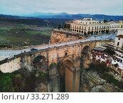 Aerial photo Ronda cityscape, Malaga, Costa del Sol, Spain (2019 год). Стоковое фото, фотограф Alexander Tihonovs / Фотобанк Лори