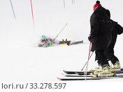 Russian Alpine Skiing Cup, International Ski Federation Championship, slalom. Mount skier Elizaveta Elesina Sverdlovsk skiing down mountain (2019 год). Редакционное фото, фотограф А. А. Пирагис / Фотобанк Лори