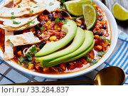 Купить «Chicken Taco Soup in a white bowl», фото № 33284837, снято 3 января 2020 г. (c) Oksana Zh / Фотобанк Лори