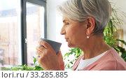 Купить «happy senior woman with cup of tea at home», видеоролик № 33285885, снято 19 января 2020 г. (c) Syda Productions / Фотобанк Лори